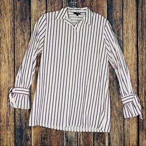 DREW blouse button front striped white XS